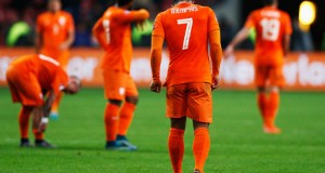 during the UEFA EURO 2016 qualifying Group A match between the Netherlands and the Czech Republic at Amsterdam Arena on October 13, 2015 in Amsterdam, Netherlands.