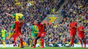 during the Barclays Premier League match between Norwich City and Liverpool at Carrow Road on April 20, 2014 in Norwich, England.