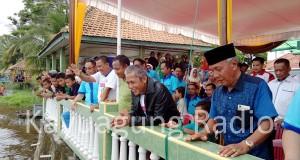 Bupati OKI Menyaksikan Puncak Lomba Bidar Mini Di Sungai Komering Kota Kayuagung