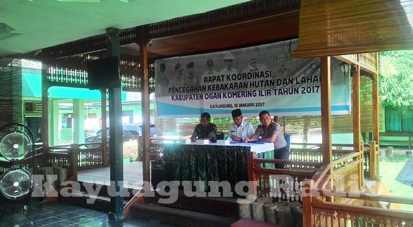Rapat Koordinasi Pencegahan Kebakaran Hutan Dan Lahan Kabupaten OKI Tahun 2017. Rabu 18/01/17